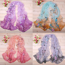 Womens Long Chiffon Sheer Ladies Stole Scarves Bird Floral Printed Wraps Scarf