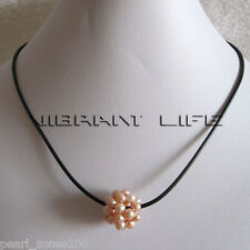 """18"""" 5-6mm Peach Pink Ball Freshwater Pearl Black Leather Necklace AC"""