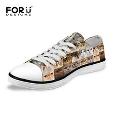 Fashion Cats Animal Shoes Women Girls Low Top Canvas Shoes Lace Up Sneakers