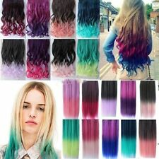 Women Rainbow Fading Colorful Hair Extensions Curly Straight Clip Hair Extension