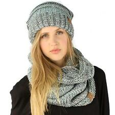 Winter Set Oversized Chunky Knit Slouch Beanie Ski Hat Hood Cowl Scarf Mix