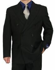 SHARP 2pc DOUBLE BREASTED DB MEN DRESS SUIT BLACK 50R-62L tb06