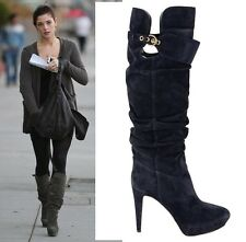 $1,295 SERGIO ROSSI TALL BOOTS SLOUCHY VERONICA BLUE SUEDE LEATHER 41 / 11