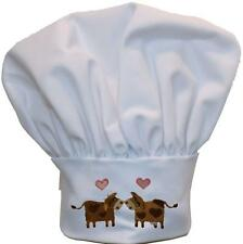 Milk Farm Moo Cows & Hearts Chef Hat Adjust Wedding Shower Monogram White Avail