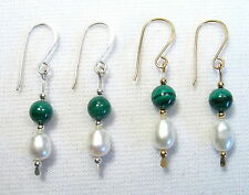 Lyns Jewelry Malachite and Freshwater Pearl Drop Earrings Silver or Gold