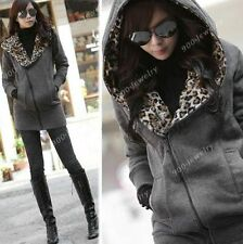 Fashion Vintage Womens GrayZip Up Fleece Jackets Casual Hooded Outerwear Coats