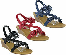 Cushion Walk Comfort Slingback Open Toe Summer Sandals Wedge Womens Shoes UK 3-8