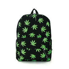 BLACK&GREEN WATER RESISTANT CANVAS WEED,CANNABIS LEAVES DRAWSTRING BACKPACK BAG