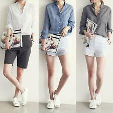 Womens Casual Button Fashion Long Sleeve Cotton Linen Loose Shirt New Blouse Top