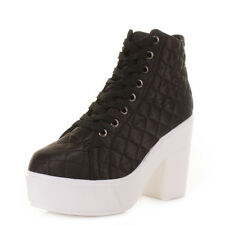 Womens Platform Chunky Heeled Black / White Quilt Lace Up Ankle Boots Size 3-8