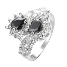 Pear Cut Black Sapphire CZ Wedding Ring Women's 10KT White Gold Filled Size 6-10