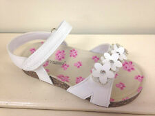 New Girls Chatterbox White Flower Detail Velcro Sandals Size 6 7 8 9 10 11 12