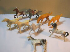 Old Plastic Toy Horses Figures Lot of 9 Misc Horses  T*