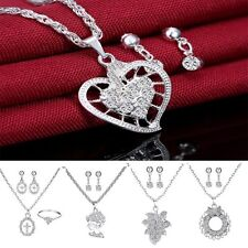 Hot Women Fashion Rhinestone Silver Wedding Jewelry Set Crystal Necklace Pendant