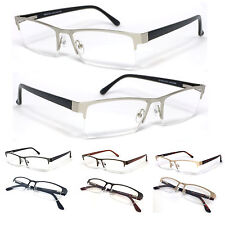 Mens Womens Reader Metal Frame Semi Rimless Spring Temple Reading Glasses - RE75