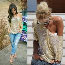 Women Short sleeve Sexy T-shirt Summer Casual Blouse Loose Tops Fashion Sequins