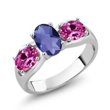 1.65 Ct Oval Checkerboard Blue Iolite Pink Created Sapphire 925 Silver Ring