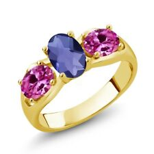 1.65 Ct Oval Checkerboard Blue Iolite Pink Created Sapphire 18K Yellow Gold Ring
