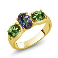 1.80 Ct Oval Green Mystic Topaz Green Tourmaline 14K Yellow Gold Ring