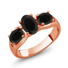 1.58 Ct Oval Black Onyx 18K Rose Gold Plated Silver Ring