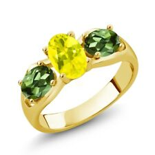 1.80 Ct Oval Canary Mystic Topaz Green Tourmaline 14K Yellow Gold Ring