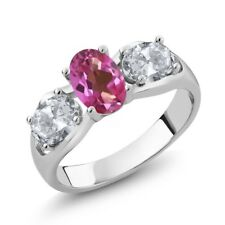 1.80 Ct Oval Pink Mystic Topaz White Topaz 925 Sterling Silver Ring