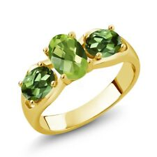 1.85 Ct Oval Checkerboard Green Peridot Green Tourmaline 18K Yellow Gold Ring
