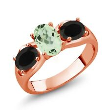1.53 Ct Oval Green Amethyst Black Onyx 18K Rose Gold Plated Silver Ring