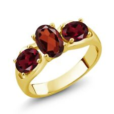 1.90 Ct Oval Red Garnet Red Rhodolite Garnet 18K Yellow Gold Plated Silver Ring