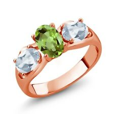 1.80 Ct Oval Green Peridot Sky Blue Topaz 18K Rose Gold Plated Silver Ring