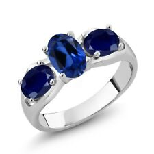 2.00 Ct Oval Blue Simulated Sapphire Blue Sapphire 925 Sterling Silver Ring