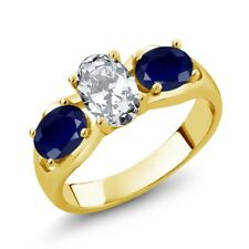 2.60 Ct Oval White Zirconia Blue Sapphire 18K Yellow Gold Plated Silver Ring