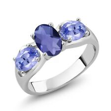 1.55 Ct Oval Checkerboard Blue Iolite Blue Tanzanite 925 Sterling Silver Ring