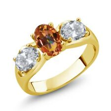 1.80 Ct Oval Ecstasy Mystic Topaz White Topaz 18K Yellow Gold Plated Silver Ring