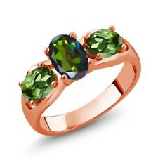 1.80 Ct Oval Forest Green Mystic Topaz Green Tourmaline 18K Rose Gold Ring