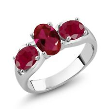 2.10 Ct Oval Red Created Ruby Red Ruby 14K White Gold Ring