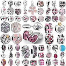 Hot Cute Pink Bead Handmade 925 Silver Charms For Genuine Bracelets Bangle Chain