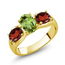 1.80 Ct Oval Green Peridot Red Garnet 18K Yellow Gold Plated Silver Ring