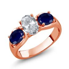 2.05 Ct Oval White Topaz Blue Sapphire 18K Rose Gold Plated Silver Ring