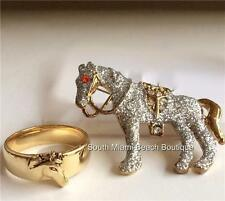 Gold Plated Horse Ring Band Pin Brooch Cowgirl Country Western Equestrian Gift