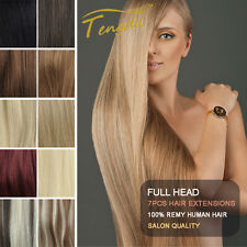 """7pcs/set 30"""" Full Head Clip in 100% Remy Human Hair Extensions 150g"""