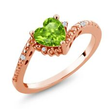 0.88 Ct Heart Shape Green Peridot 18K Rose Gold Plated Silver Ring