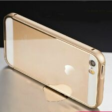 Aluminum Metal Bumper+Acrylic Clear Back Case Cover Skin for New iPhone SE 5 5s