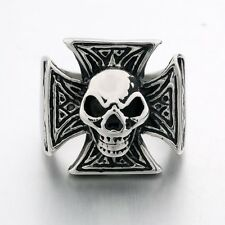 Cool Men's Gothic Band Ring New 316L Stainless Steel Skull Punk Jewelry Sz 9-13