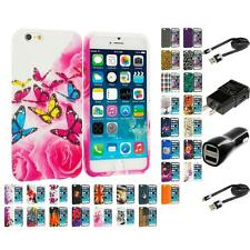 For Apple iPhone 6S (4.7) TPU Design Silicone Soft Rubber Case Skin 2X Chargers