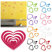 5pcs 3D heart-shaped DIY Art Wall Sticker room Home Decor Removable 9 colors