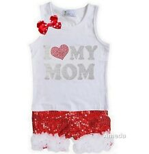Mother's Day Rhinestone I Love My Mom White Tank Top Shorts Outfit
