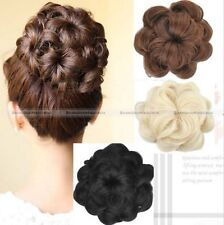 Womens Drawstring Curly Wave hair Bun Clip In Hair Extension Hairpiece Wig S3