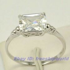 Size 7,8.5,9,9.5 Ring,REAL 2.5Ct QUADRATE GEMSTONE 18K WHITE GOLD GP SOLID FILL