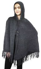Women's Alpaca Wool Hooded Knit Yarn Cape Coat Poncho Solid Color